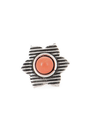 Orange Silver Nose Pin