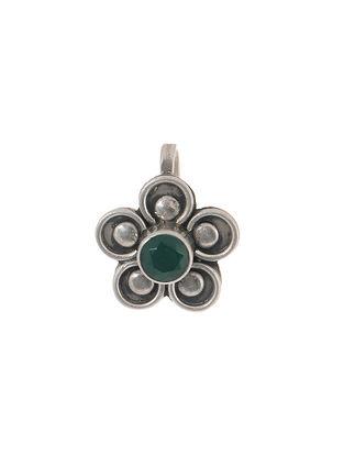 Green Silver Nose Pin