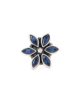 Blue Silver Nose Pin