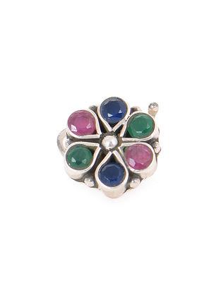 Multicolored Silver Nose Pin
