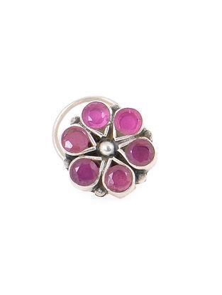 Pink Silver Nose Pin