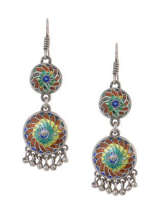 Multicolored Enameled Silver Jhumkis