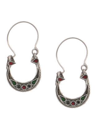 Red-Green Glass Tribal Silver Earrings