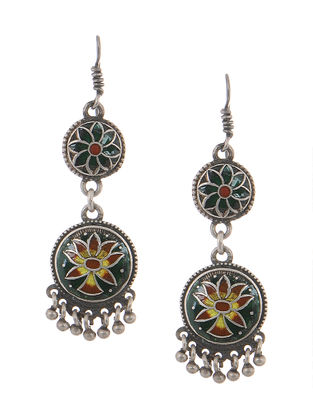 Green-Brown Enameled Silver Earrings