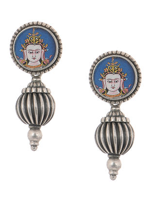 Blue Hand-painted Tribal Silver Earrings with Deity Motif