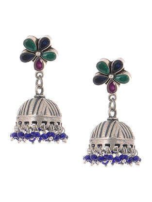 Multicolored Tribal Silver Jhumkis with Floral Design