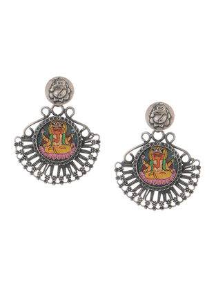 Multicolored Hand-painted Tribal Silver Earrings with Lord Ganesha Motif