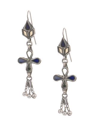 Blue-Brown Glass Tribal Silver Earrings