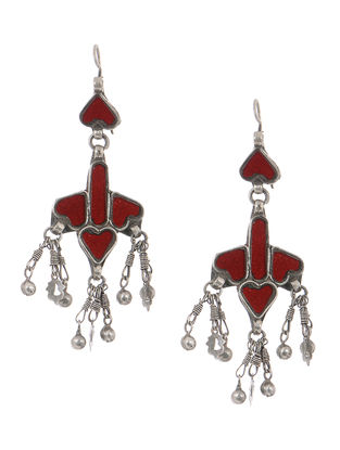 Red Gass Tribal Silver Earrings
