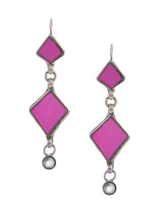 Pink Gass Tribal Silver Earrings