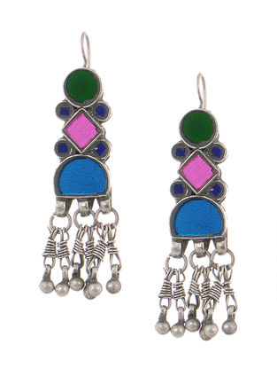 Multicolored Gass Tribal Silver Earrings