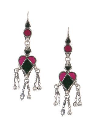 Pink-Green Gass Tribal Silver Earrings