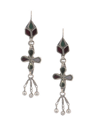 Green-Red Gass Tribal Silver Earrings