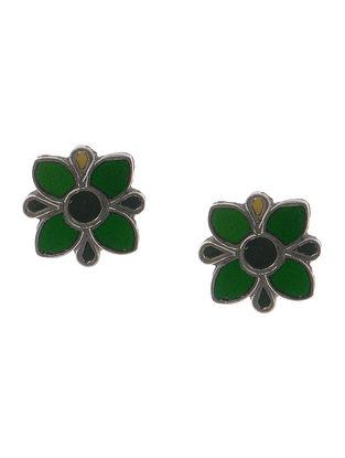Green-Brown Gass Tribal Silver Earrings