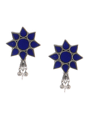Blue Gass Tribal Silver Earrings with Floral Design