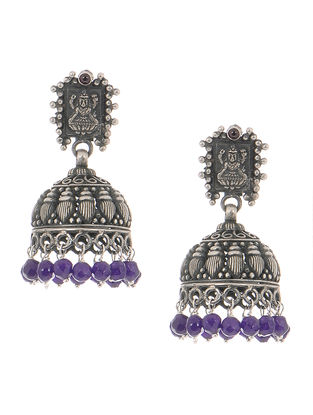 Purple Tribal Silver Jhumkis with Deity Motif