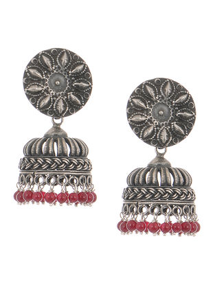 Red Tribal Silver Jhumkis with Floral Motif