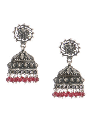 Red Tribal Silver Jhumkis with Lord Ganesha Motif