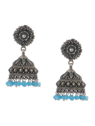 Blue Tribal Silver Jhumkis with Floral Motif