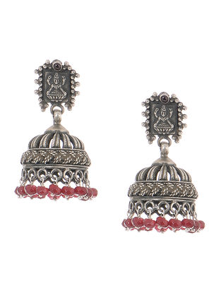 Red Tribal Silver Jhumkis with Deity Motif