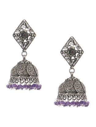 Purple Tribal Silver Jhumkis