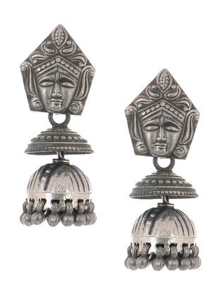 Tribal Silver Jhumkis with Deity Motif
