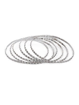 Tribal Silver Bangles (Set of 6) (Bangle Size -2/4)