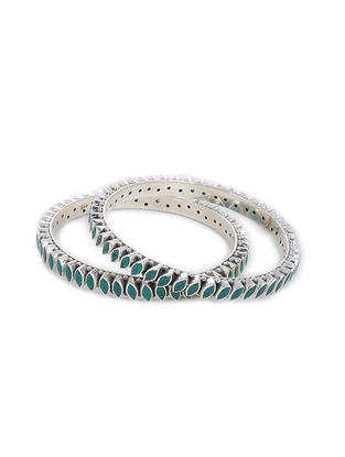 Green Silver Bangles (Set of 2) (Bangle Size -2/2)