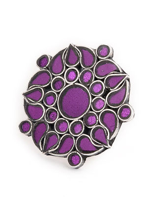 Purple Glass Tribal Adjustable Silver Ring