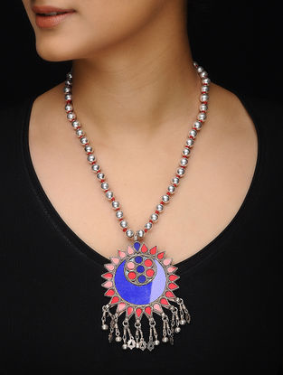 Blue-Red Glass Silver Beaded Necklace