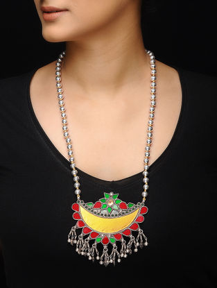 Multicolored Glass Silver Beaded Necklace