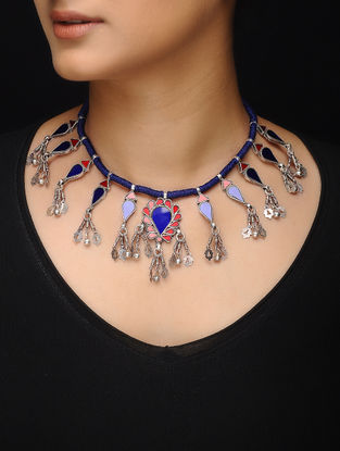 Blue Glass Silver Thread Necklace