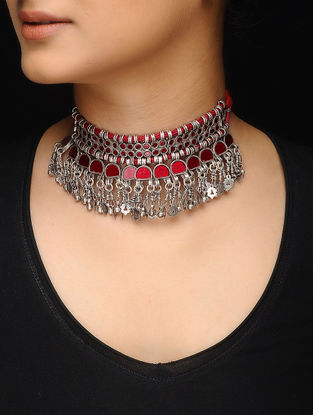 Red Glass Silver Thread Necklace