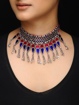 Red-Blue Glass Silver Thread Necklace