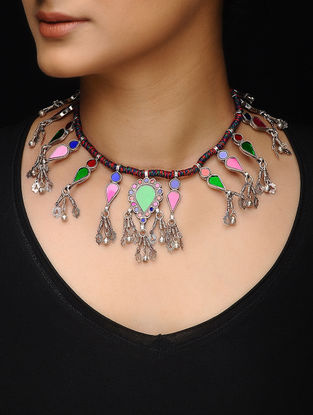 Multicolored Glass Silver Thread Necklace