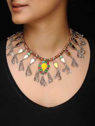 Multicolored Thread Silver Necklace