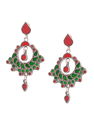 Red-Green Glass Tribal Silver Earrings