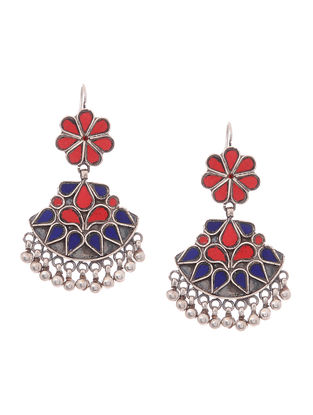 Red-Blue Silver Earrings