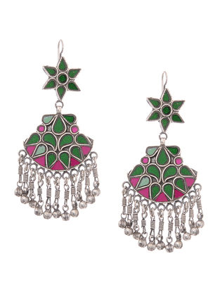 Green-Pink Silver Earrings