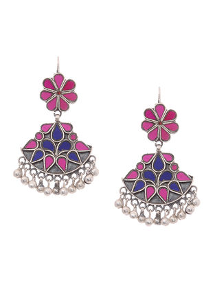 Pink-Blue Glass Silver Earrings