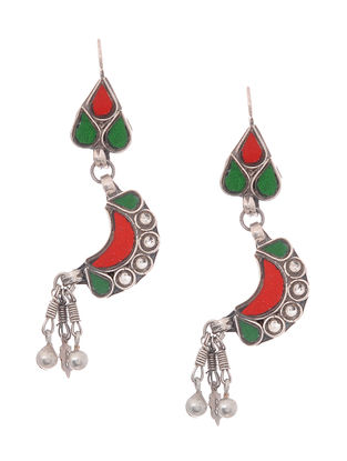 Green-Red Silver Earrings