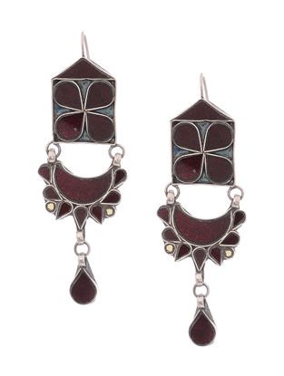 Maroon Glass Silver Earrings