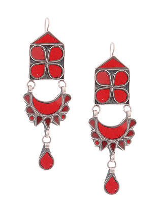 Red Glass Silver Earrings