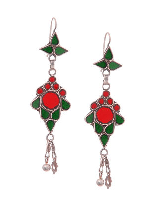 Green-Red Glass Silver Earrings