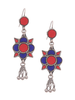 Blue-Red Glass Silver Earrings