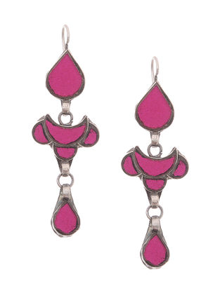 Pink Glass Silver Earrings