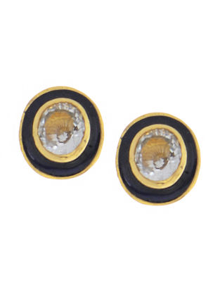 Aquamarine Enameled Gold Earrings