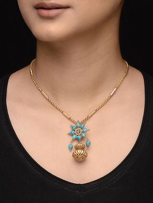 Turquoise Diamond Polki Gold Pendant with Floral Design