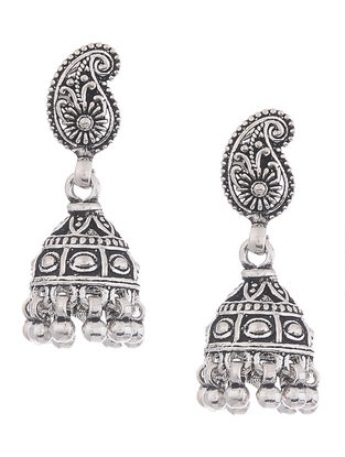 Tribal Silver Jhumkis with Paisley Design