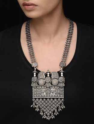 Tribal Silver Necklace with Peacock Design